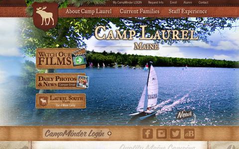 Screenshot of Home Page camplaurel.com - Kids Overnight Summer Camps: Readfield, Maine: Camp Laurel - captured Sept. 19, 2014