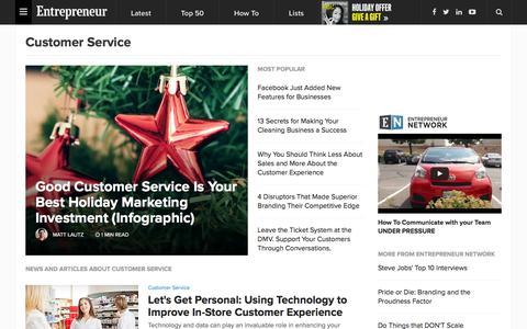 Screenshot of Support Page entrepreneur.com - Customer Service News & Topics - captured Dec. 17, 2015