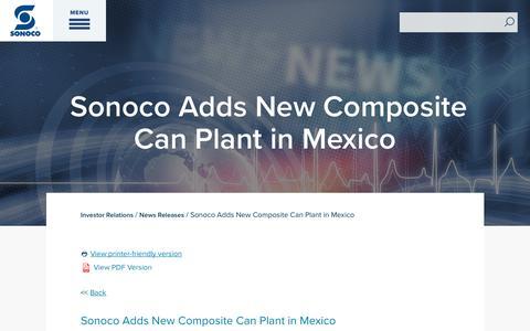 Screenshot of Press Page sonoco.com - Sonoco Adds New Composite Can Plant in Mexico | Sonoco - captured Nov. 5, 2019
