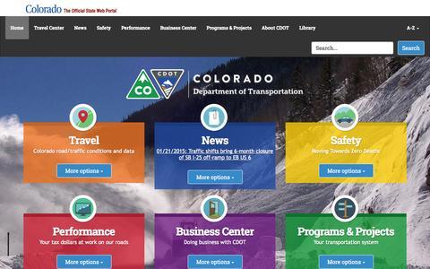 Screenshot of Home Page codot.gov - Travel Plans? — CDOT - captured Jan. 23, 2015