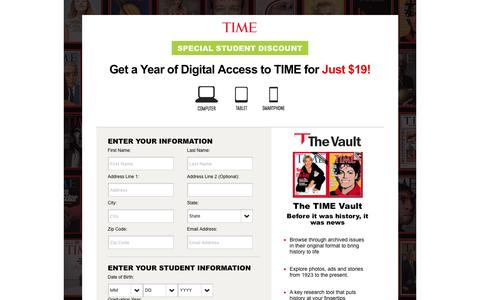 Screenshot of Landing Page time.com - Time Magazine Subscription Offer - captured May 11, 2017