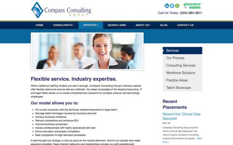 Screenshot of Services Page compasscgroup.com - Life Science Recruiters - San Francisco IT Recruiters | Compass Consulting Group - captured Sept. 29, 2018