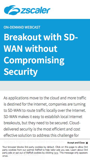 Breakout with SD-WAN without Compromising Security    Zscaler