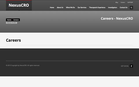 Screenshot of Jobs Page nexuscro.com - Careers - NexusCRO - captured Feb. 16, 2016