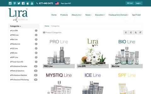 Screenshot of Products Page liraclinical.com - Lira Clinical - captured July 15, 2016