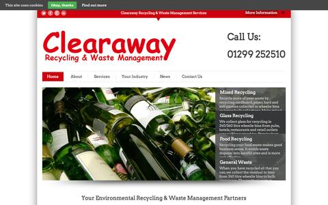 Screenshot of Home Page clearaway.uk.com - Clearaway - Waste Management, Recycling, Recycle Waste, Wheelie Bin, Waste Disposal, Worcestershire, West Midlands, BirminghamClearaway | Waste Management, Recycling, Recycle Waste, Wheelie Bin, Waste Disposal, Worcestershire, West Midlands, Birmingh - captured Jan. 23, 2015