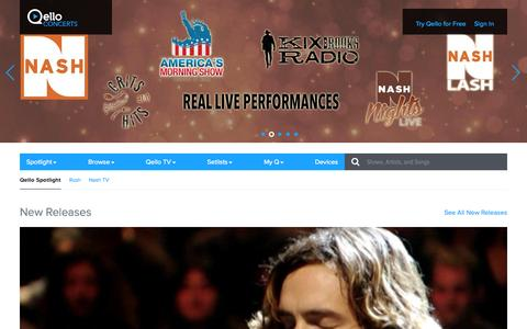Screenshot of Home Page qello.com - Qello Concerts | Spotlight | Watch Live Concert Films and Music Documentaries On Demand - captured June 16, 2015