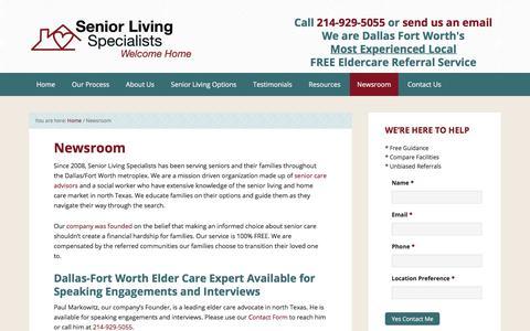 Screenshot of Press Page seniorlivingspecialists.com - Newsroom - Senior Living Dallas - captured Nov. 12, 2017