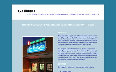 Screenshot of Home Page eyeimages.com - Eye Images Greensboro, N.C. Eyeglasses, Contact lenses,Eyeglass frames, - captured June 20, 2016