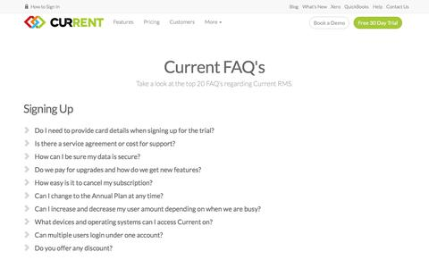 Screenshot of FAQ Page current-rms.com - Top 20 FAQ's | Current RMS - captured July 23, 2018
