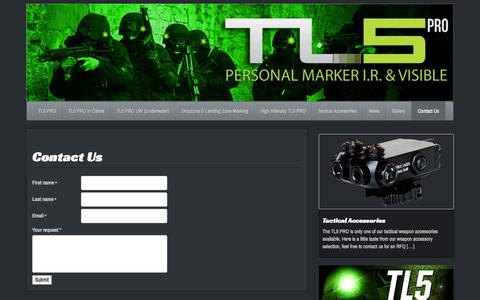 Screenshot of Contact Page tl5pro.com - Contact Us | TL5 Pro Personal IR Marker - captured Sept. 30, 2014