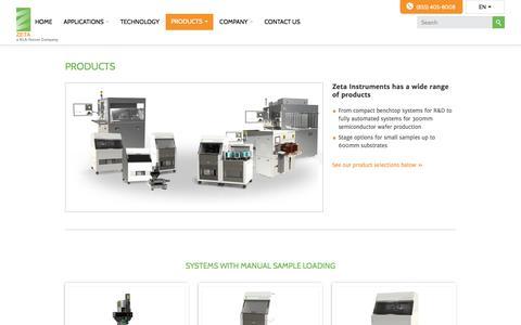 Screenshot of Products Page zeta-inst.com - Product Catalog | Zeta Instruments - captured Nov. 12, 2017