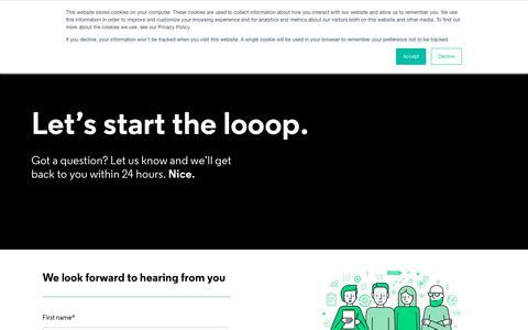 Screenshot of Contact Page looop.co - Looop LMS - Contact us - captured Nov. 4, 2019