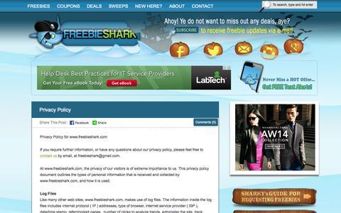 Screenshot of Privacy Page freebieshark.com - Privacy Policy — FreebieShark.com - captured Oct. 29, 2014