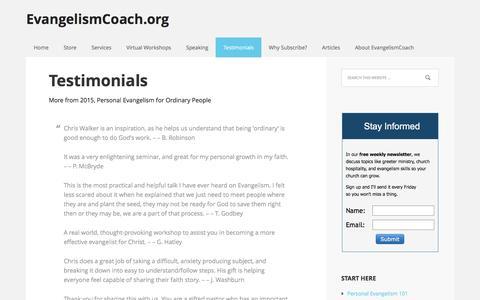 Screenshot of Testimonials Page evangelismcoach.org - Evangelism Coach Workshop Testimonials. - captured Nov. 12, 2016