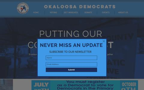 Screenshot of Home Page okaloosademocrats.com - Okaloosa Democratic Party | Let's move forward, together. - captured July 4, 2018
