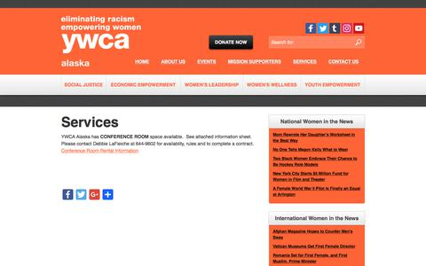 Screenshot of Services Page ywcaak.org - Services - YWCA Alaska - captured July 6, 2017