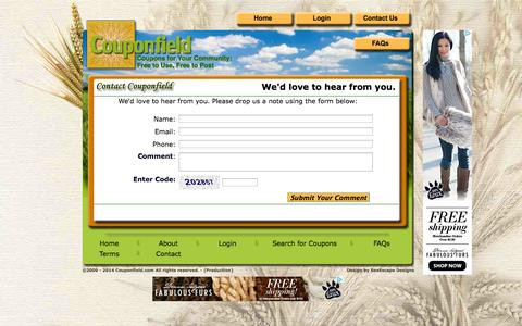 Screenshot of Contact Page couponfield.com - Couponfield.com - Contact Us - captured Oct. 8, 2014