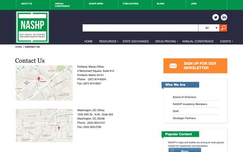 Screenshot of Contact Page nashp.org - Contact Us - NASHP - captured Sept. 30, 2018