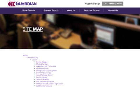 Screenshot of Site Map Page guardianprotection.com - Contact Us | Guardian Protection Services - captured Nov. 7, 2018