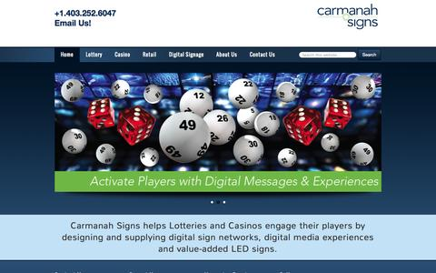 Screenshot of Home Page carmanahsigns.com - LED & LCD Signs | Lottery, Casino & Retail Signs | Carmanah Signs - captured Oct. 1, 2014