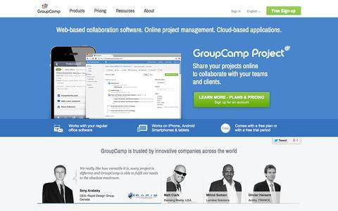 Screenshot of Home Page groupcamp.com - GroupCamp | Online project management, web-based collaboration software, cloud-based applications - captured Sept. 24, 2014