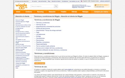 Screenshot of Terms Page wiggle.es - Wiggle Atención al cliente - captured Nov. 4, 2014