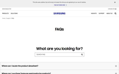 Screenshot of FAQ Page samsung.com - Support - Check out our FAQs   Samsung Semiconductor   Samsung Semiconductor Global Website - captured July 13, 2018