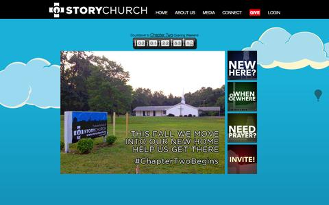 Screenshot of Home Page storychurch.org - Story Church, Durham, NC - captured Sept. 26, 2014