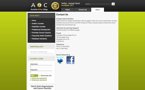 Screenshot of Contact Page australianonlinecollege.com.au - Contact Us - captured Sept. 30, 2014