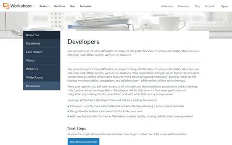 Screenshot of Developers Page workshare.com - Developers - Compare Files: Online Document Collaborations Tools - Workshare - captured Jan. 19, 2016