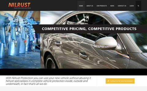 Screenshot of Home Page nilrust.com.au - Nilrust | Premium protection for your vehicle - captured Aug. 12, 2015