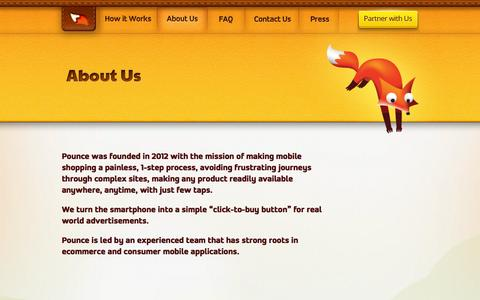 Screenshot of About Page pounce.mobi - Pounce - About - captured Sept. 17, 2014
