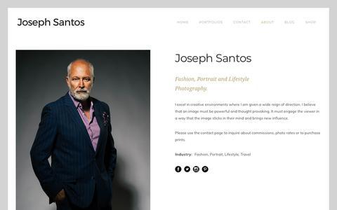 Screenshot of About Page josephsantos.com - About – Joseph Santos | Photography - captured July 2, 2018