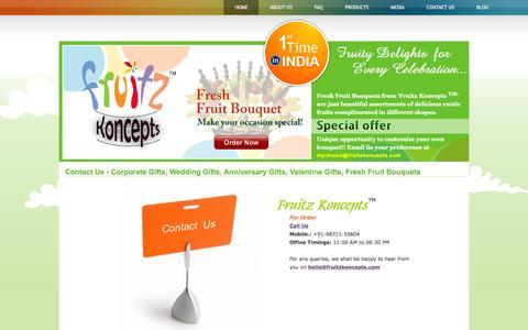 Screenshot of Contact Page fruitzkoncepts.com - Contact Fruitz Koncepts India - Fresh Fruit Bouquets   Fruit Baskets   Fresh Fruit Arranagements - captured Feb. 10, 2016
