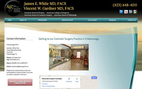Screenshot of Contact Page Maps & Directions Page advsurgical.com - Cosmetic Surgery Chattanooga Tennessee| Varicose Veins Treatment - captured Oct. 23, 2014