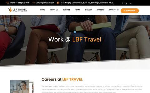 Screenshot of Jobs Page lbftravel.com - LBF Travel - captured July 14, 2018