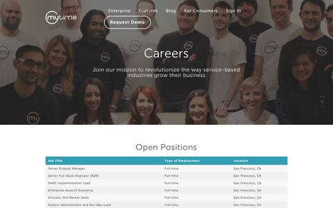 Screenshot of Jobs Page mytime.com - Careers | MyTime - captured Jan. 17, 2018
