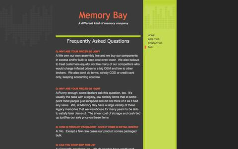 Screenshot of FAQ Page membay.com - Memory Bay - Products and Services - captured Oct. 27, 2014