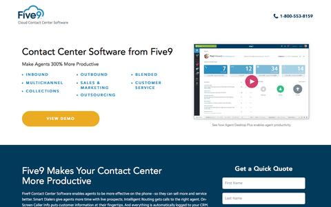 Screenshot of Landing Page five9.com - Contact Center Software | Five9 - captured Oct. 28, 2016