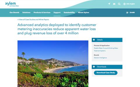 Screenshot of Case Studies Page xylem.com - Advanced analytics deployed to identify customer metering inaccuracies reduce apparent water loss and plug revenue loss of over 4 million   Xylem US - captured Nov. 9, 2019