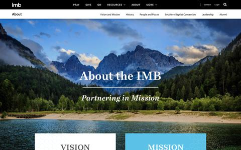 Screenshot of About Page imb.org - About The IMB - International Mission Board - captured Feb. 22, 2019