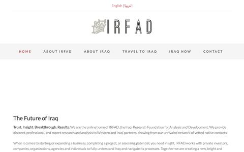 Screenshot of Home Page irfad.org - Iraqi Research Foundation for Analysis and Development - captured Oct. 4, 2014