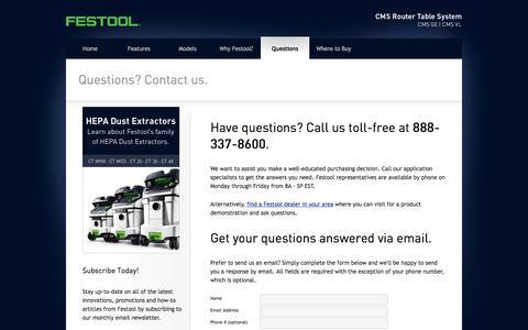 Screenshot of Contact Page festoolcms.com - Questions - Festool CMS Router Table - captured April 23, 2016