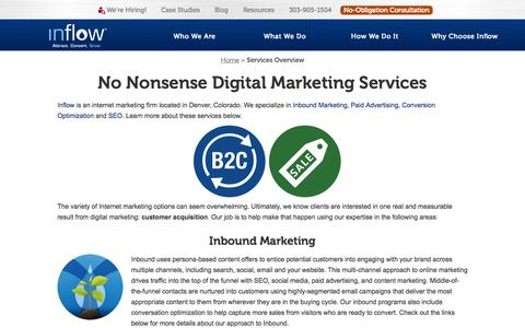 Screenshot of Services Page goinflow.com - No Nonsense Digital Marketing Services from Inflow, Denver - captured Nov. 4, 2015