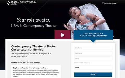 Screenshot of Landing Page berklee.edu - Contemporary Theater B.F.A. at Boston Conservatory at Berklee - captured Aug. 10, 2018