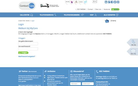 Screenshot of Login Page contactcare.nl - Login - ContactCare - captured Oct. 28, 2014