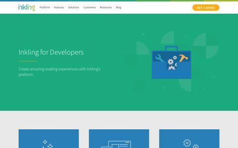 Screenshot of Developers Page inkling.com - Developers - Inkling - captured July 3, 2015