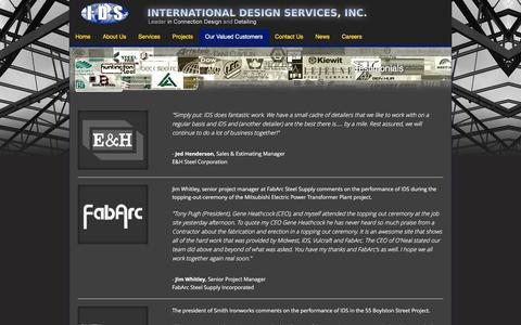 Screenshot of Testimonials Page ids-inc.net - IDS - International Design Services, Inc. - captured Jan. 23, 2016