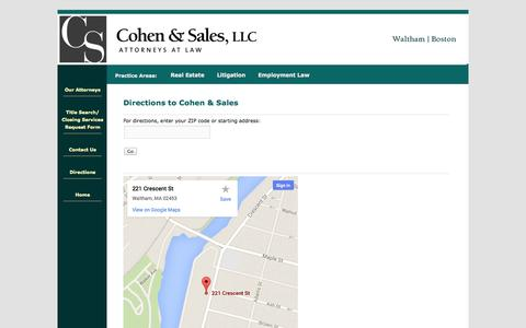 Screenshot of Maps & Directions Page cohenandsales.com - Directions to Cohen & Sales | Cohen & Sales, LLCCohen & Sales, LLC - captured Oct. 2, 2014